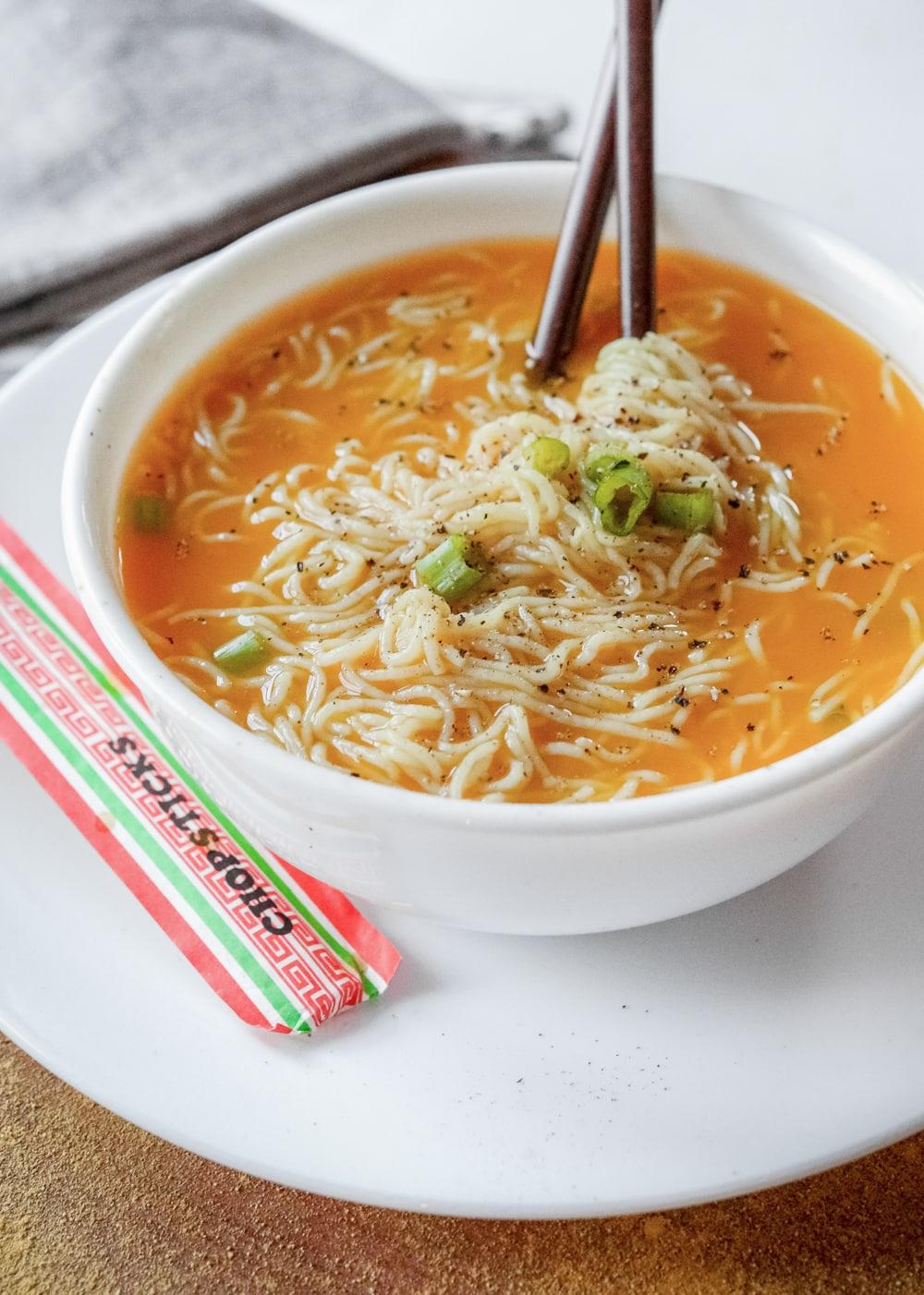 Ramen soup in a bowl.