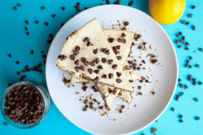 This chocolate chip cheesecake is to die for. And its actually HEALTHY! Each slice is ONLY 215 calories and has 11g of protein.