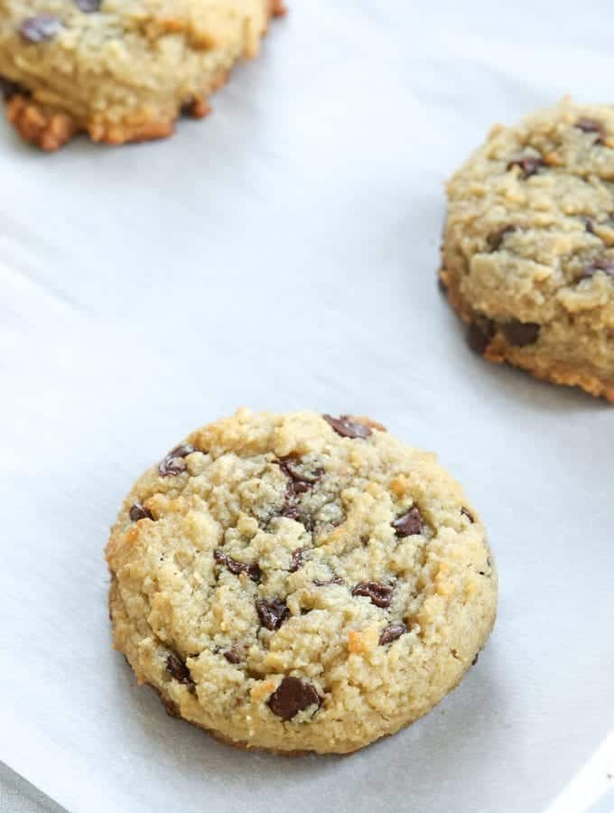 Low carb chocolate chip cookies on a cookie sheet