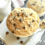 A bowl of cookie dough on a table
