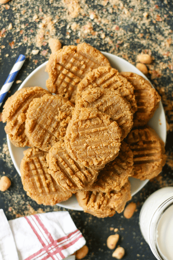 Peanut Butter Cookies on a plate.