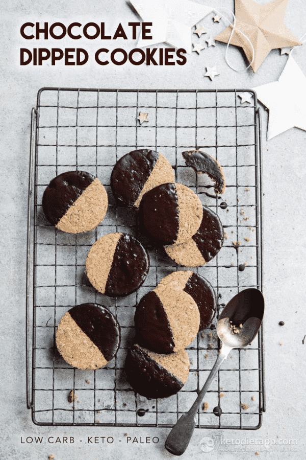 Keto Cookies Dipped in chocolate
