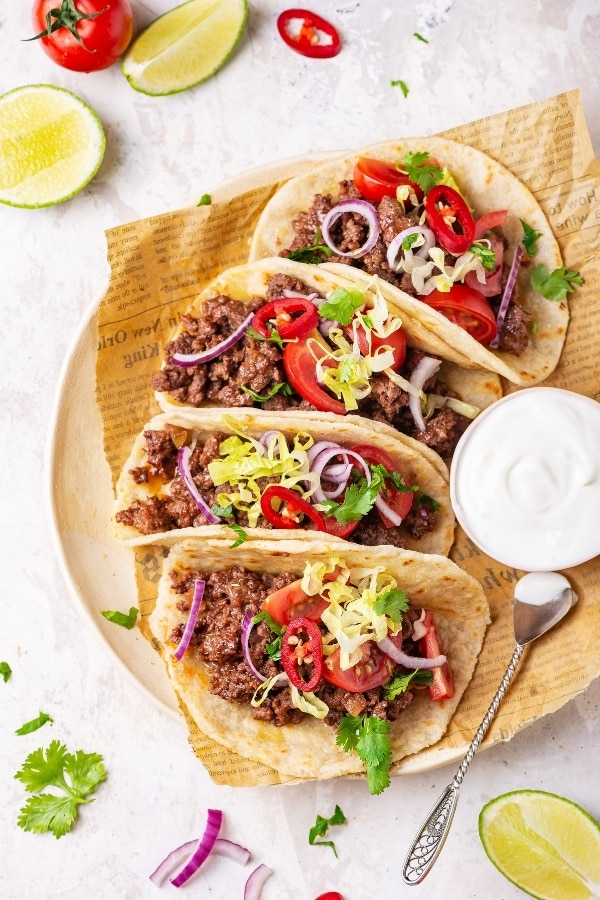 For tacos on a plate lined with parchment paper.
