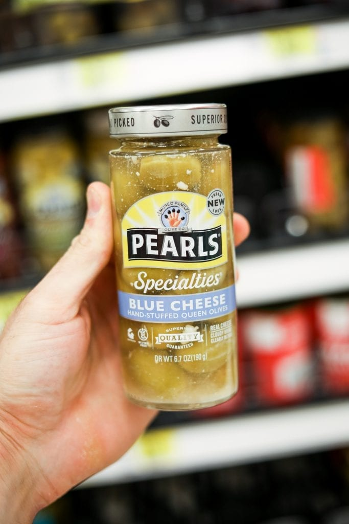 Pearls Blue Cheese Stuffed Olives are one of the Best keto snack ideas from Target.