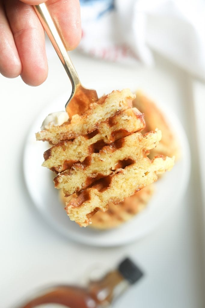 Keto Chaffle Waffles stacked on a fork