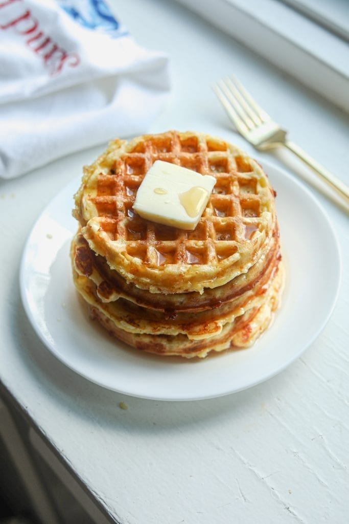 Keto chaffle waffles on a plate