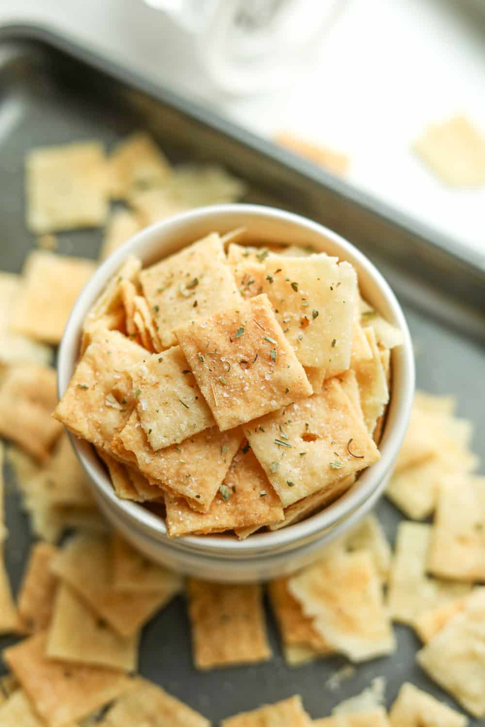 Low carb keto crackers in a bowl.