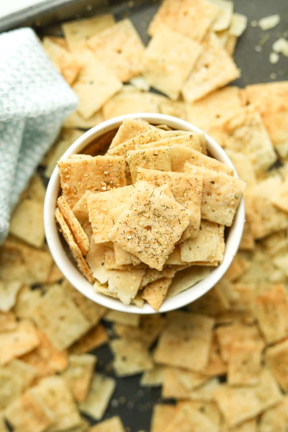 low carb Lemon dill crackers in a bowl.