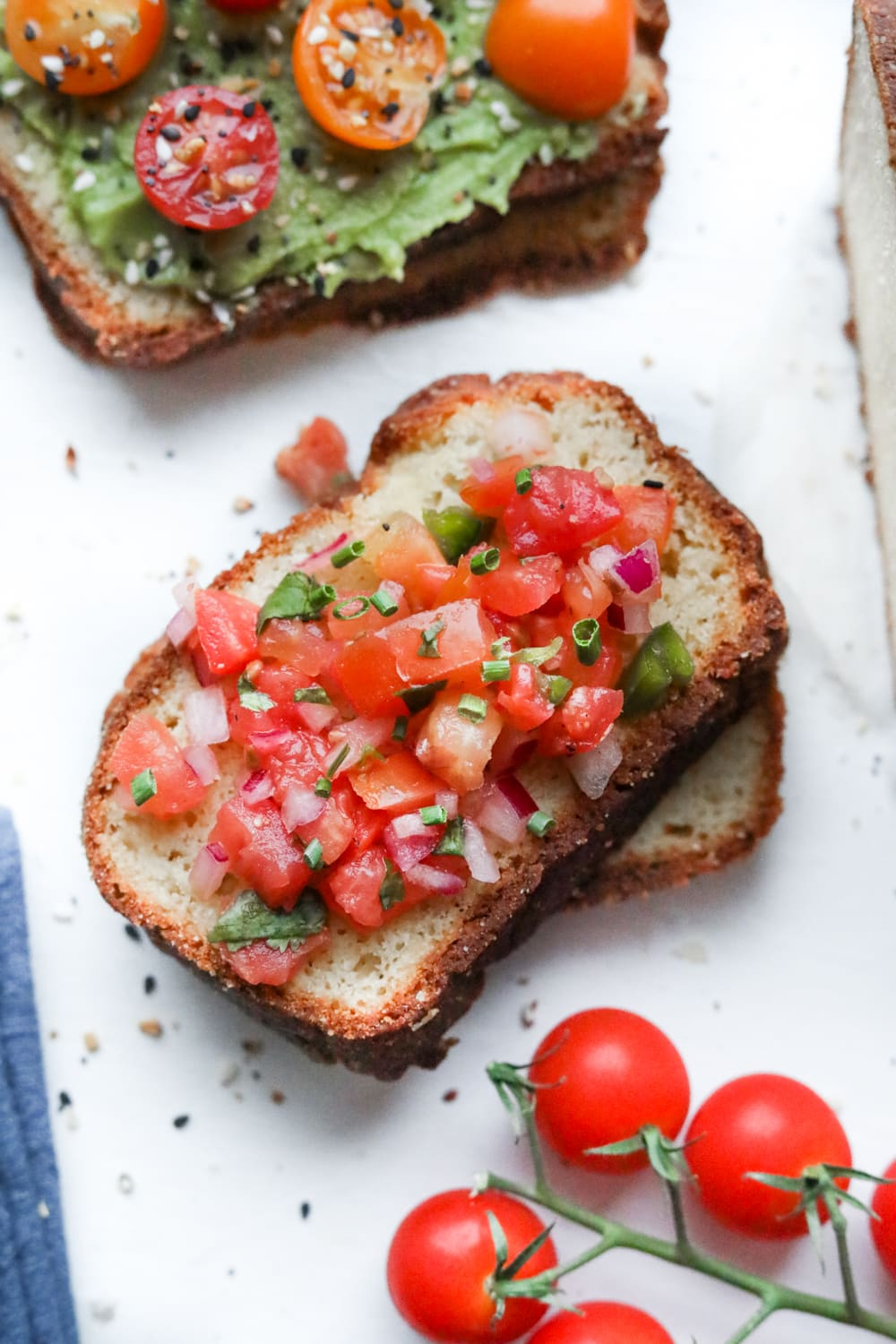 A slice of bread topped with salsa