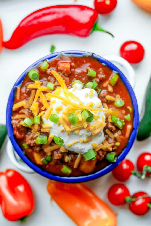 Keto chili in a bowl.