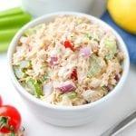 Keto tuna salad in a bowl.