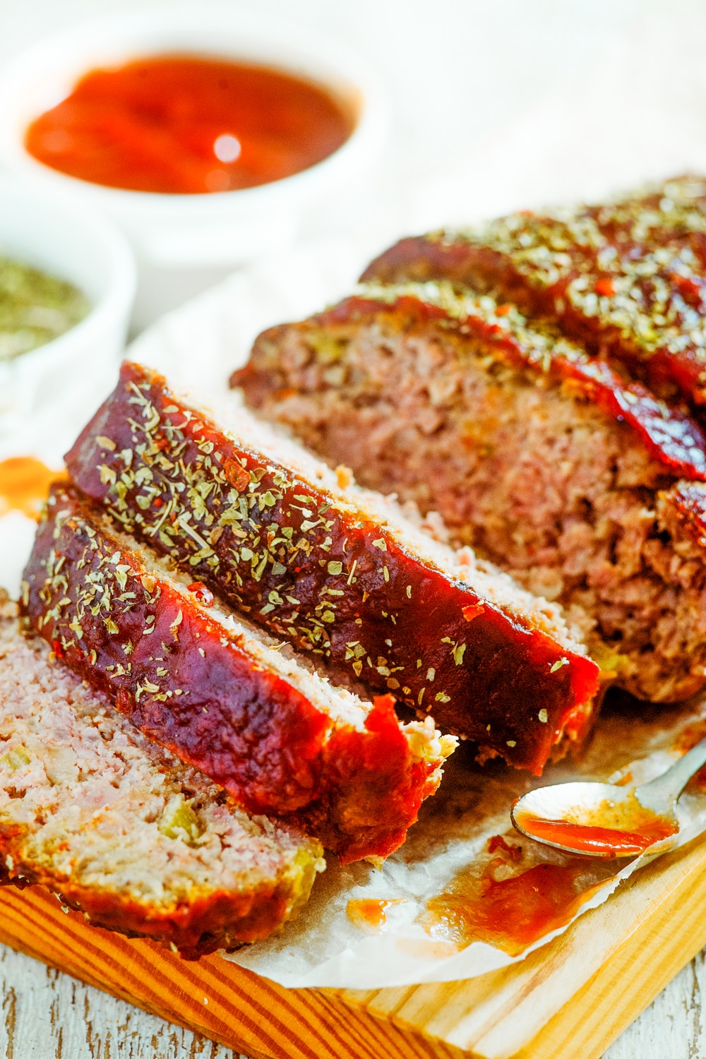 Meatloaf cut into slices.