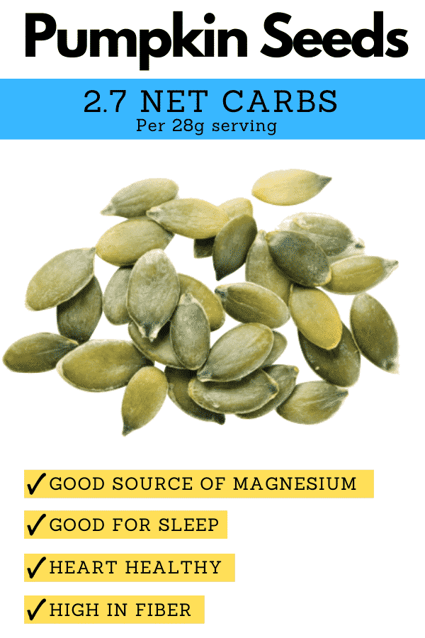 A pile of pumpkin seeds, and text explaining why they're one of the best keto nuts.