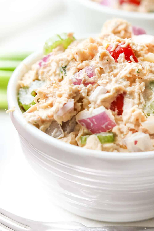 Tuna salad in a small bowl.