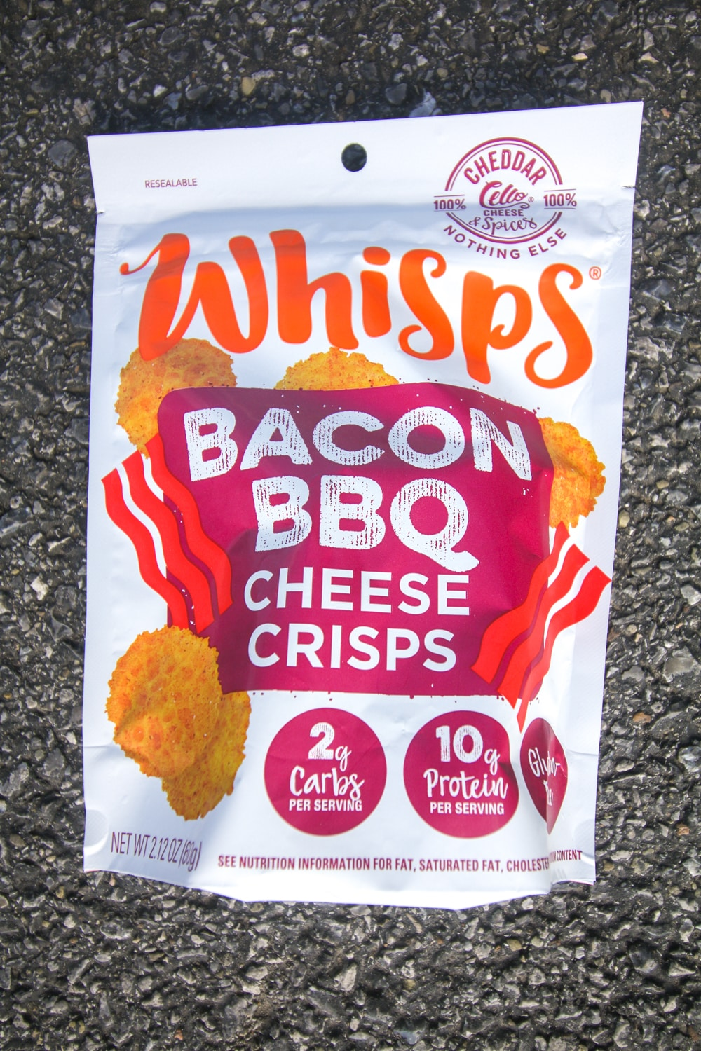 A bag of bacon cheese whisps.