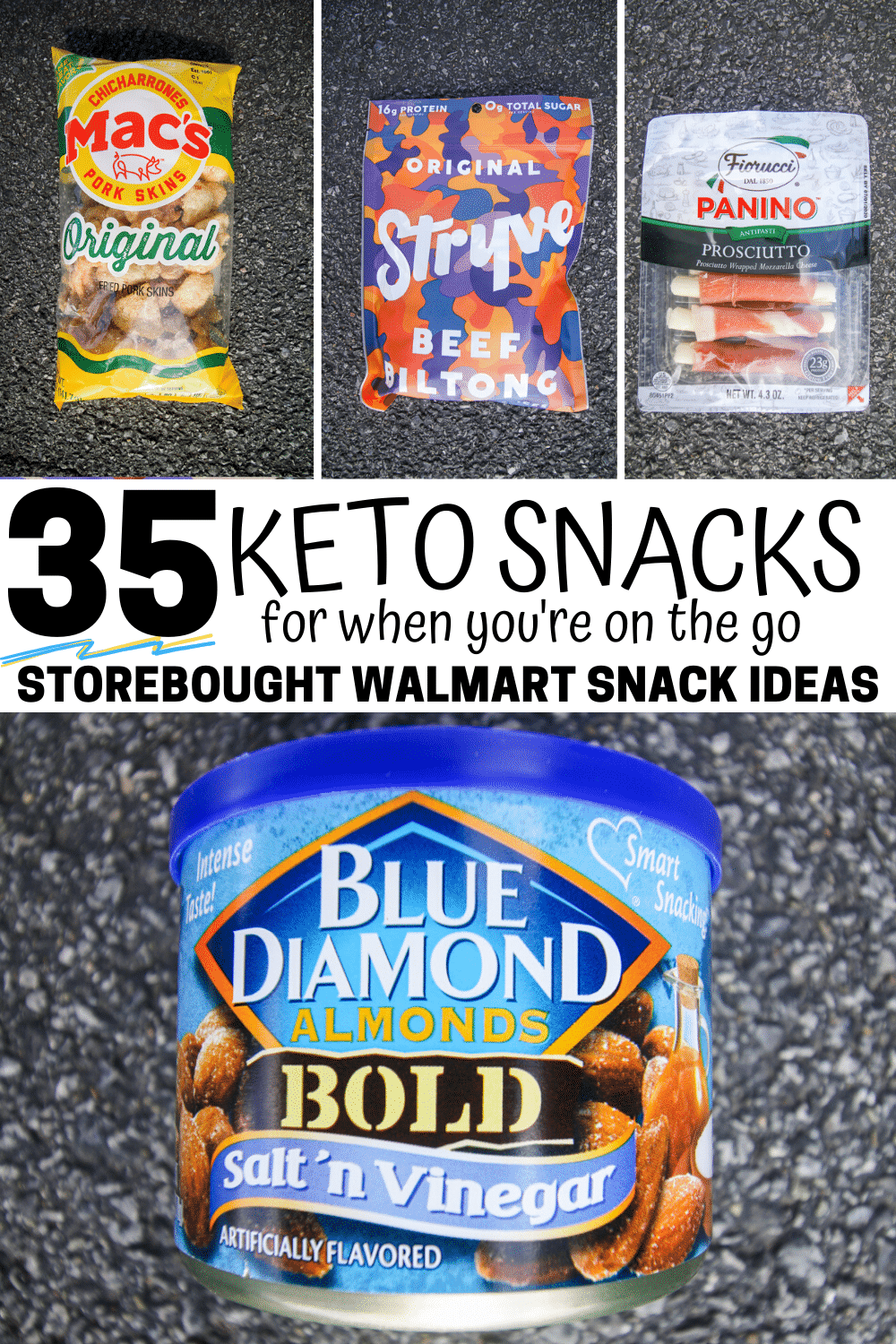 A collage of 4 keto snacks that you can find at walmart.