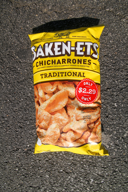 A bag of pig skin chicharrones.