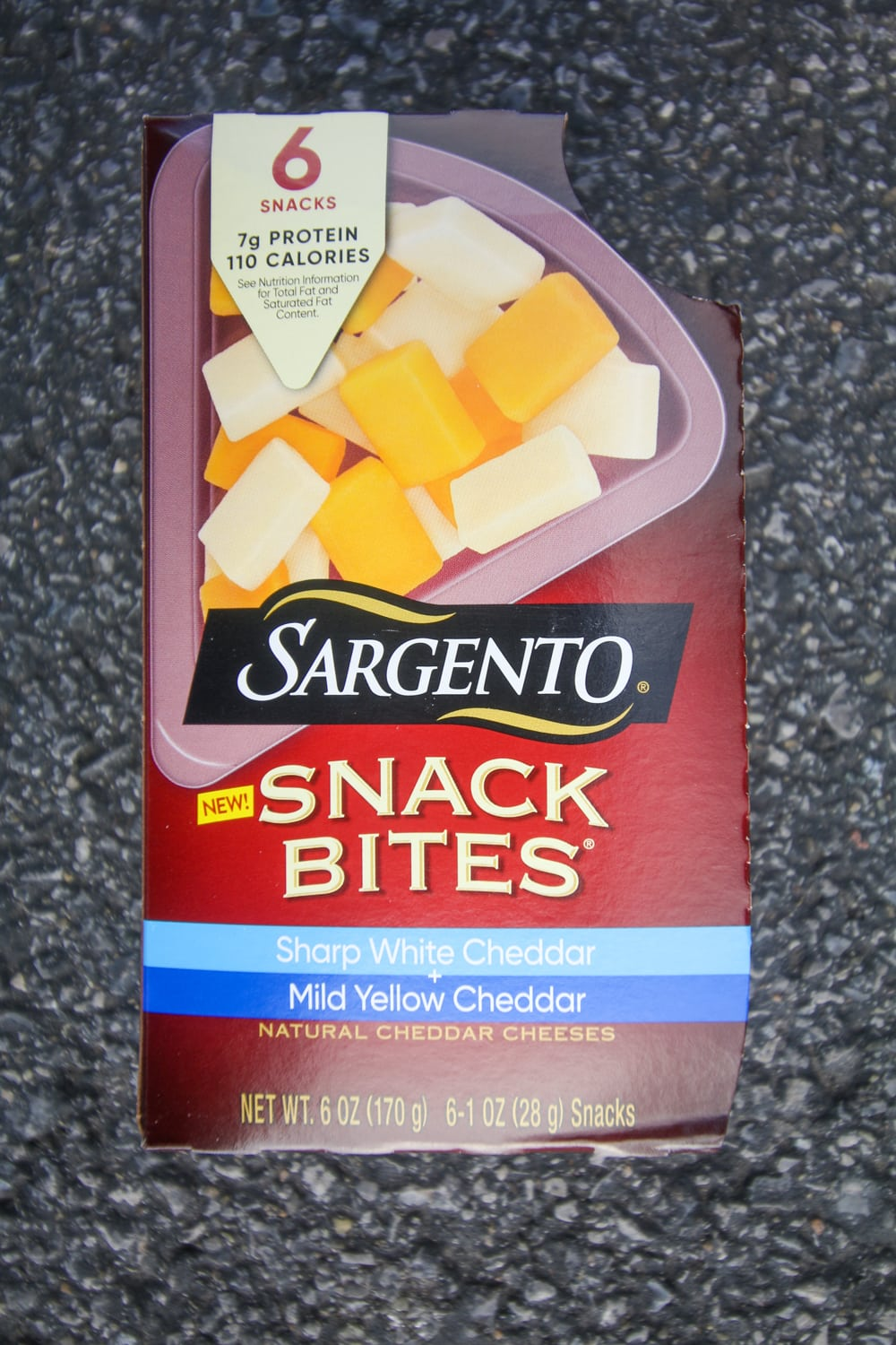 A box of cheese snack bites.