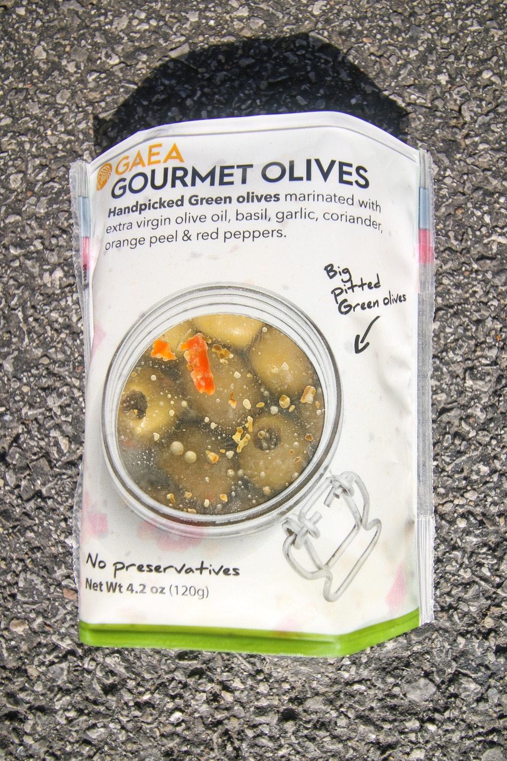 A package of gourmet olives.