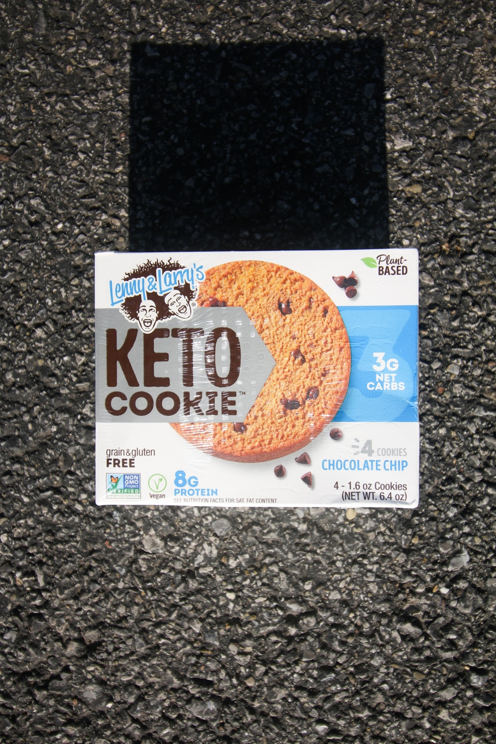 A box of soft baked Lenny and Larry keto chocolate chip cookies.