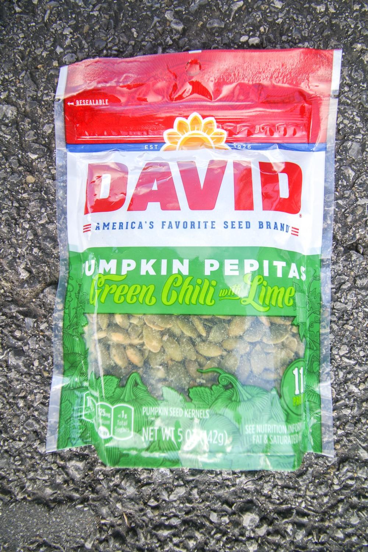 A bag of pumpkin pepitas.