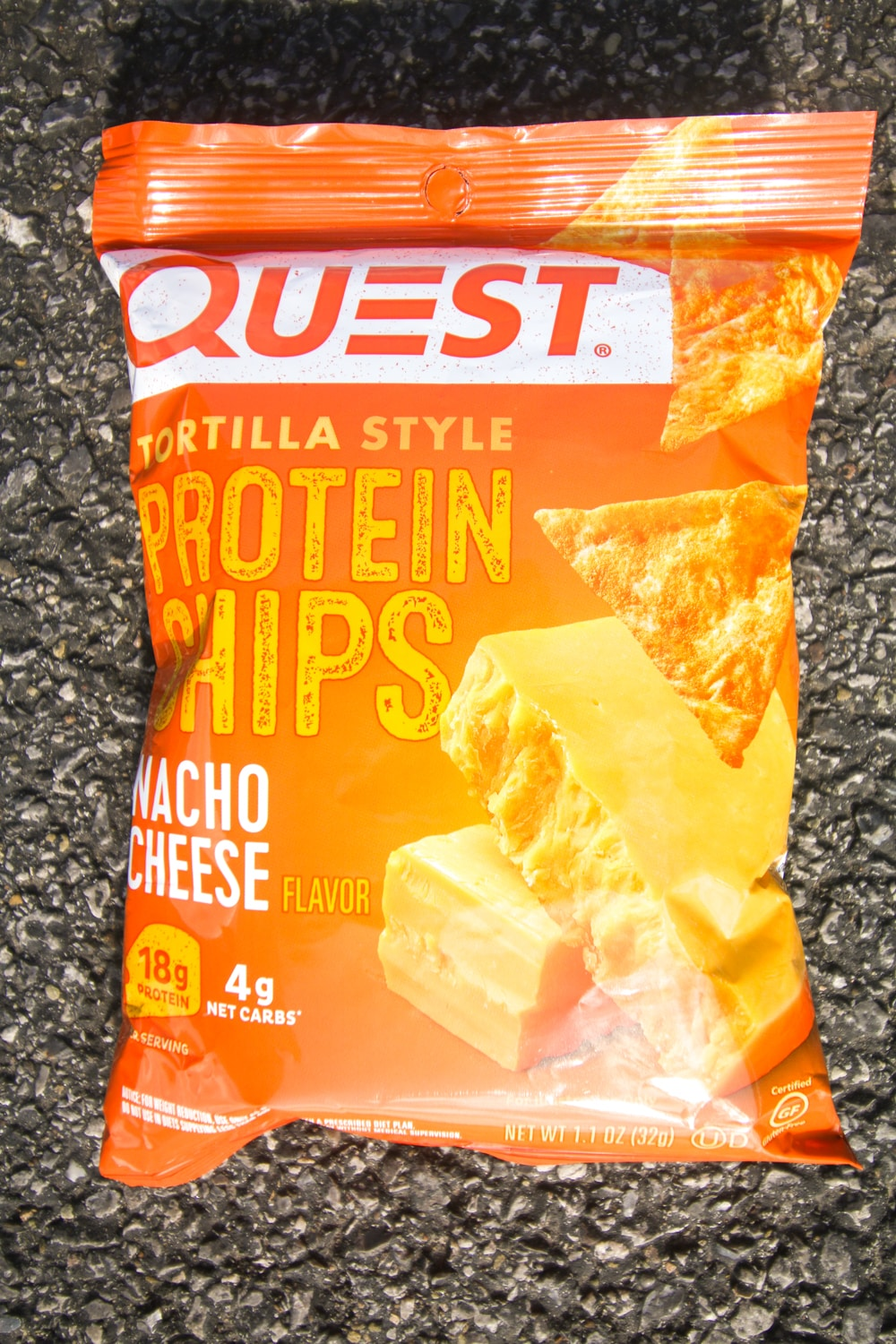 A bag of quest nacho cheese protein chips.
