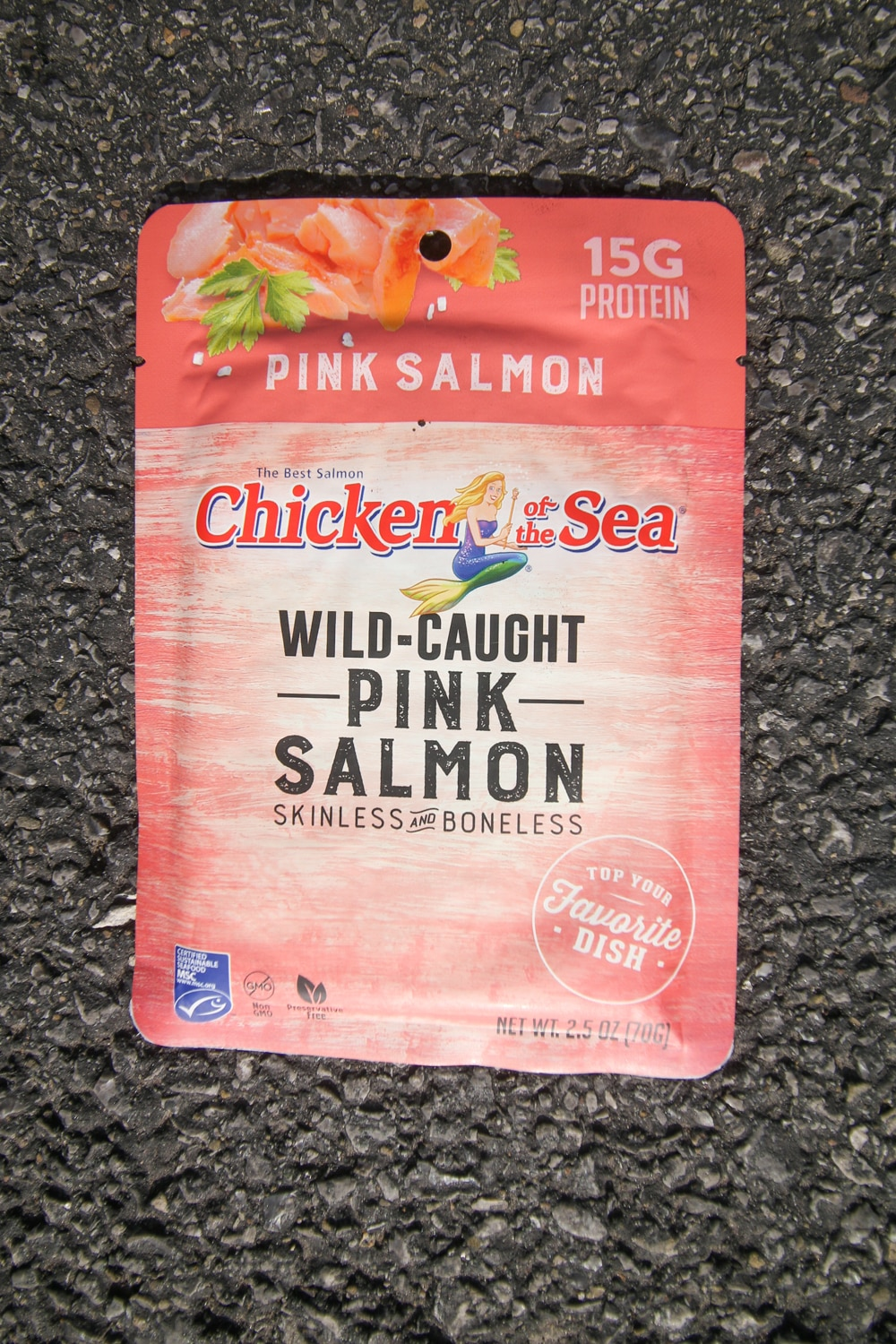 A pouch of pink salmon.