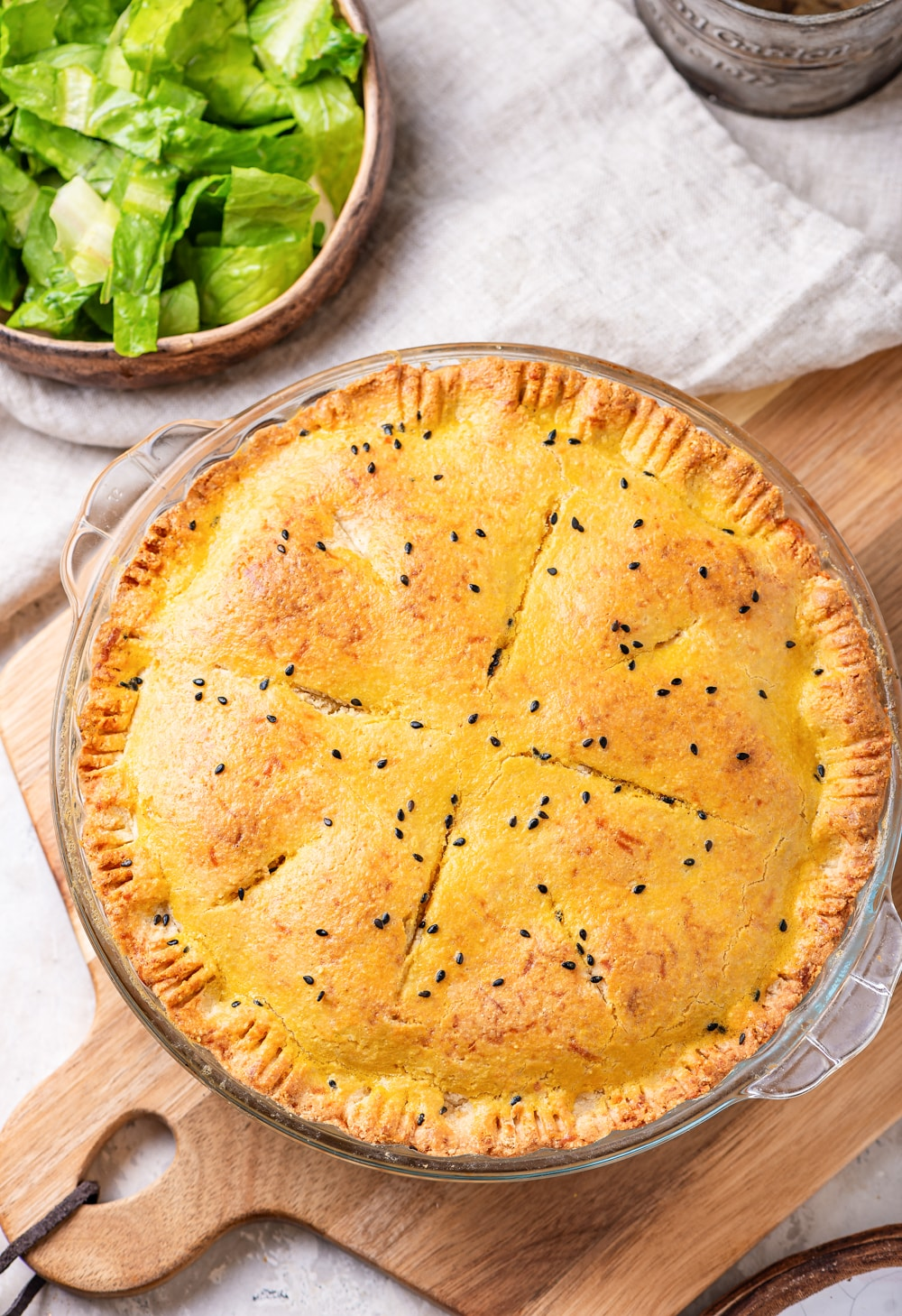 A perfectly cooked chicken pot pie.