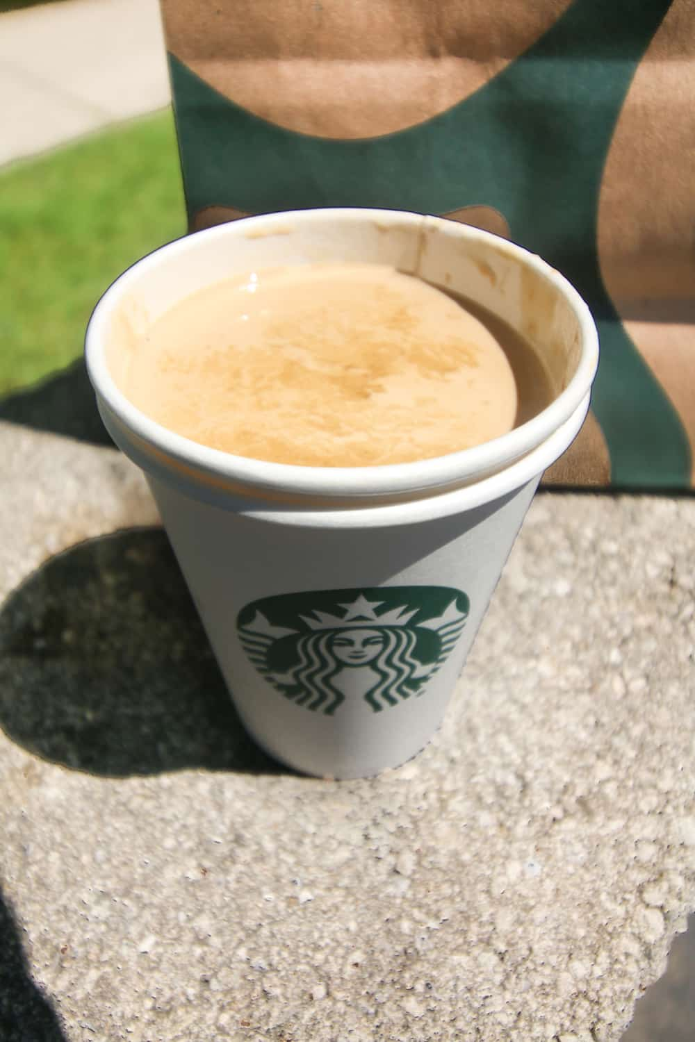 Espresso mixed with cream in a cup.