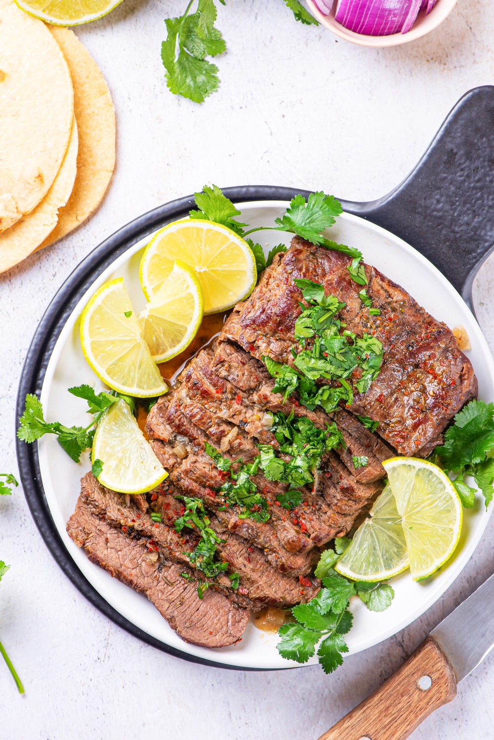 Cooked flank steak on a plate.