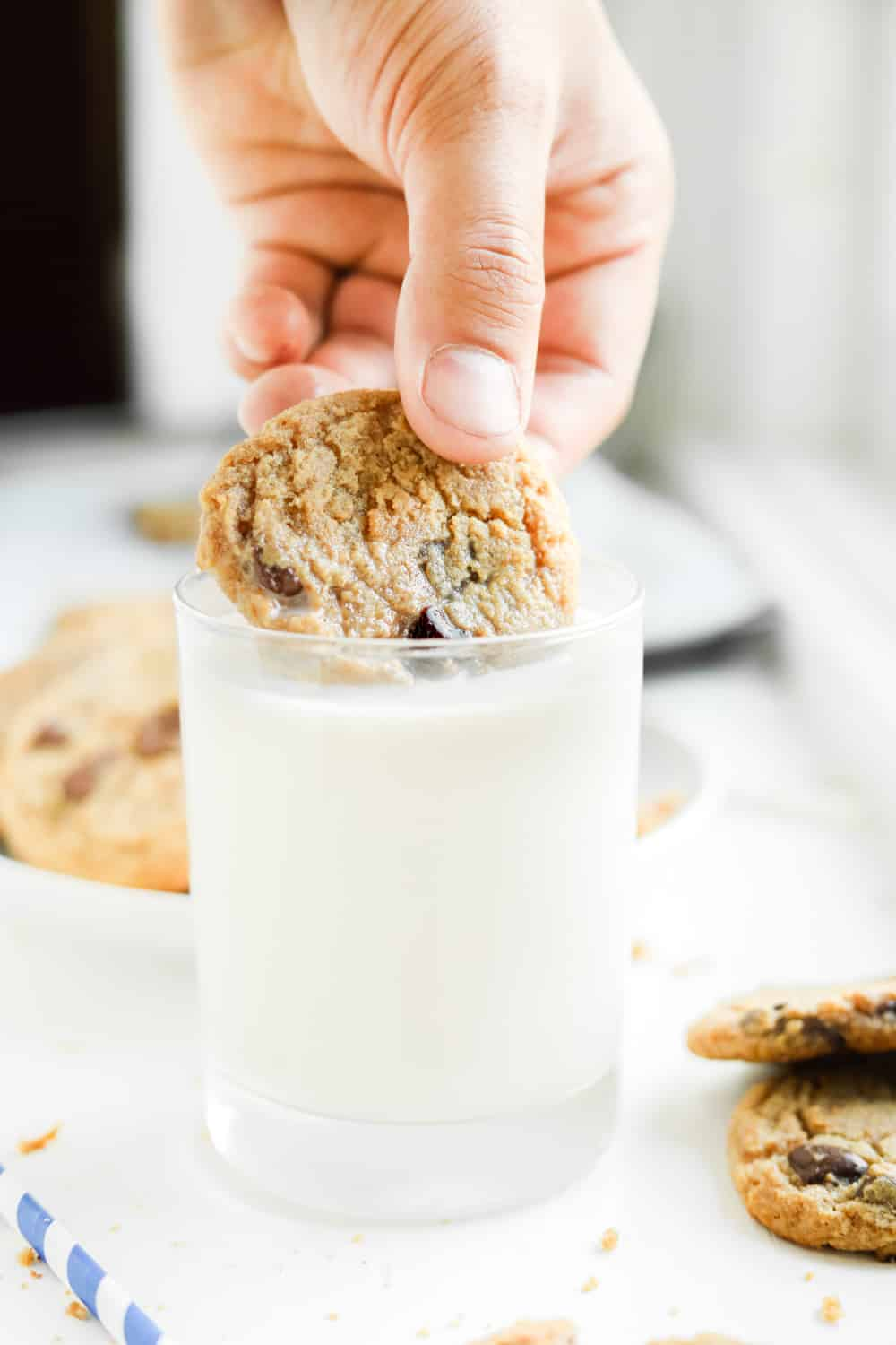 A chocolate chip cookie being dipped in a glass of milk.