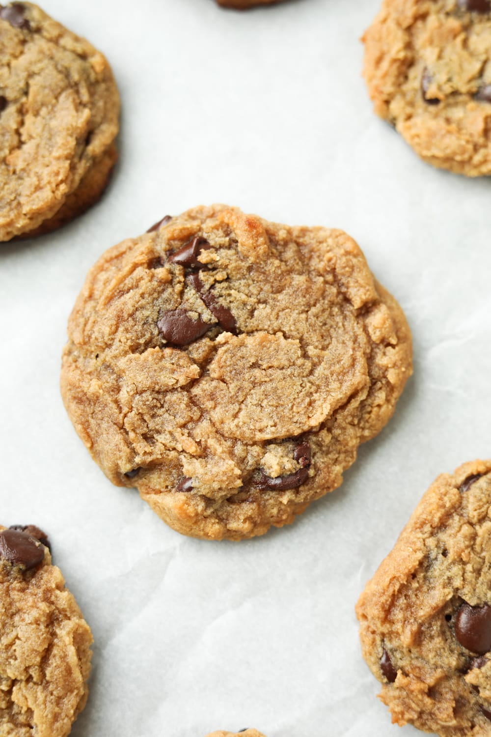 Chocolate chip cookies on parchment paper.