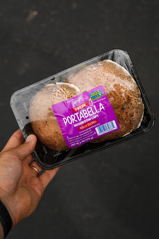 A package of portobello mushroom caps.
