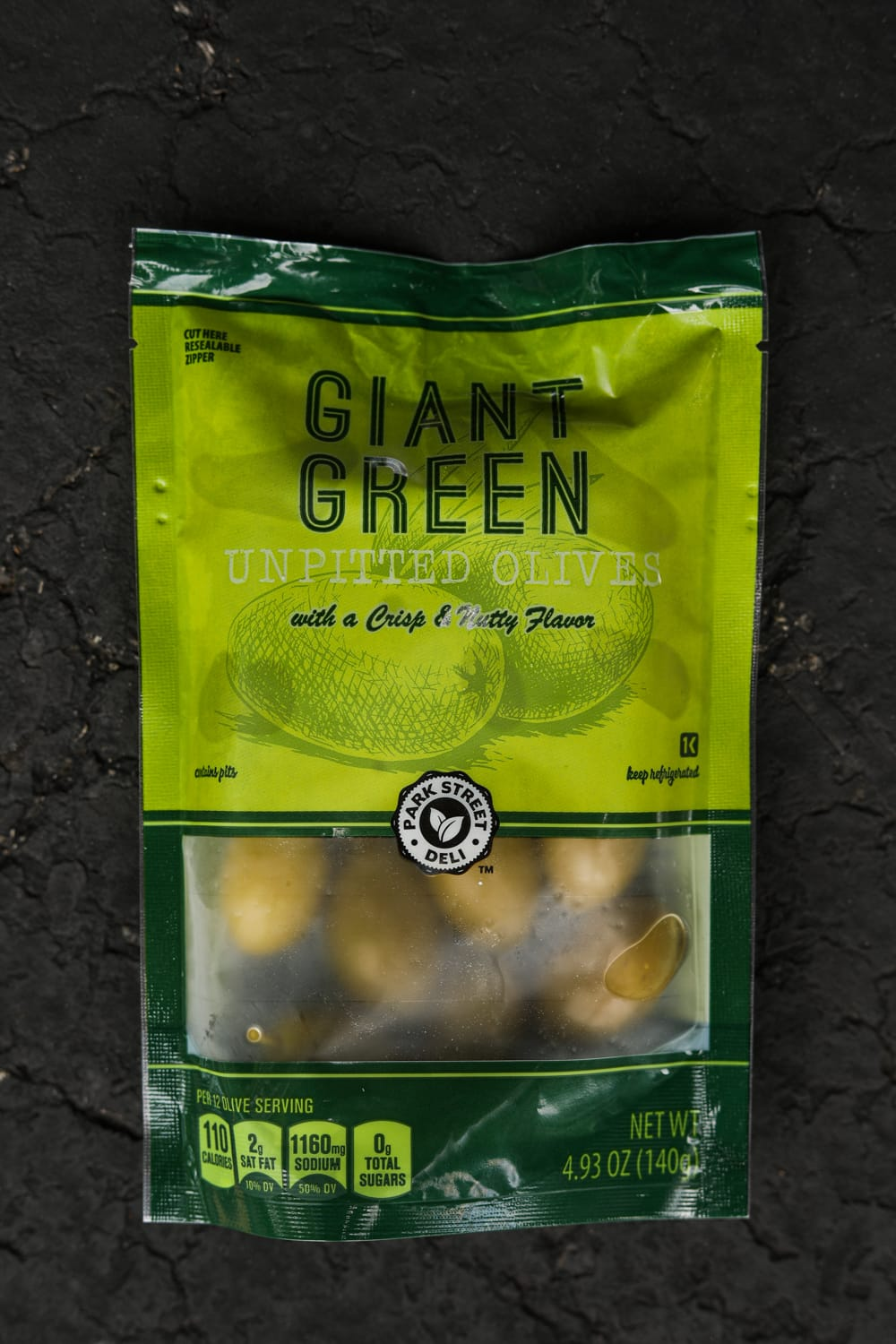 A package of giant green olives.