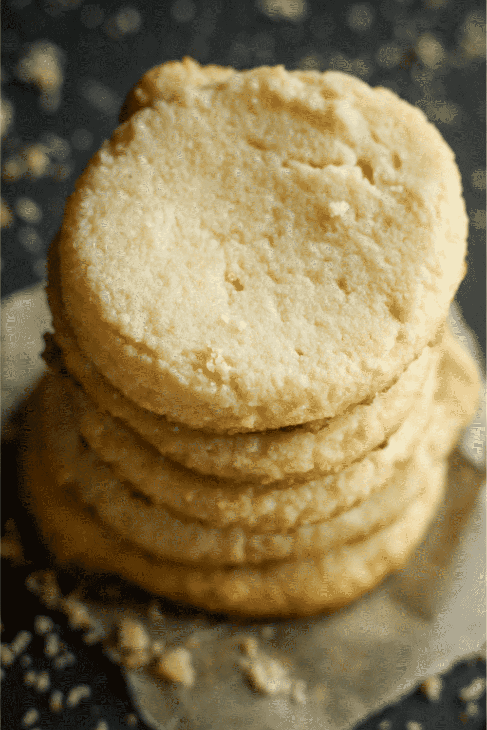 A stack of five keto shortbread cookies.