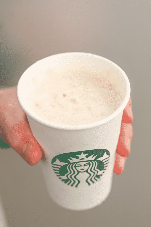 Hand holding a cup of Starbucks caramel macchiato.