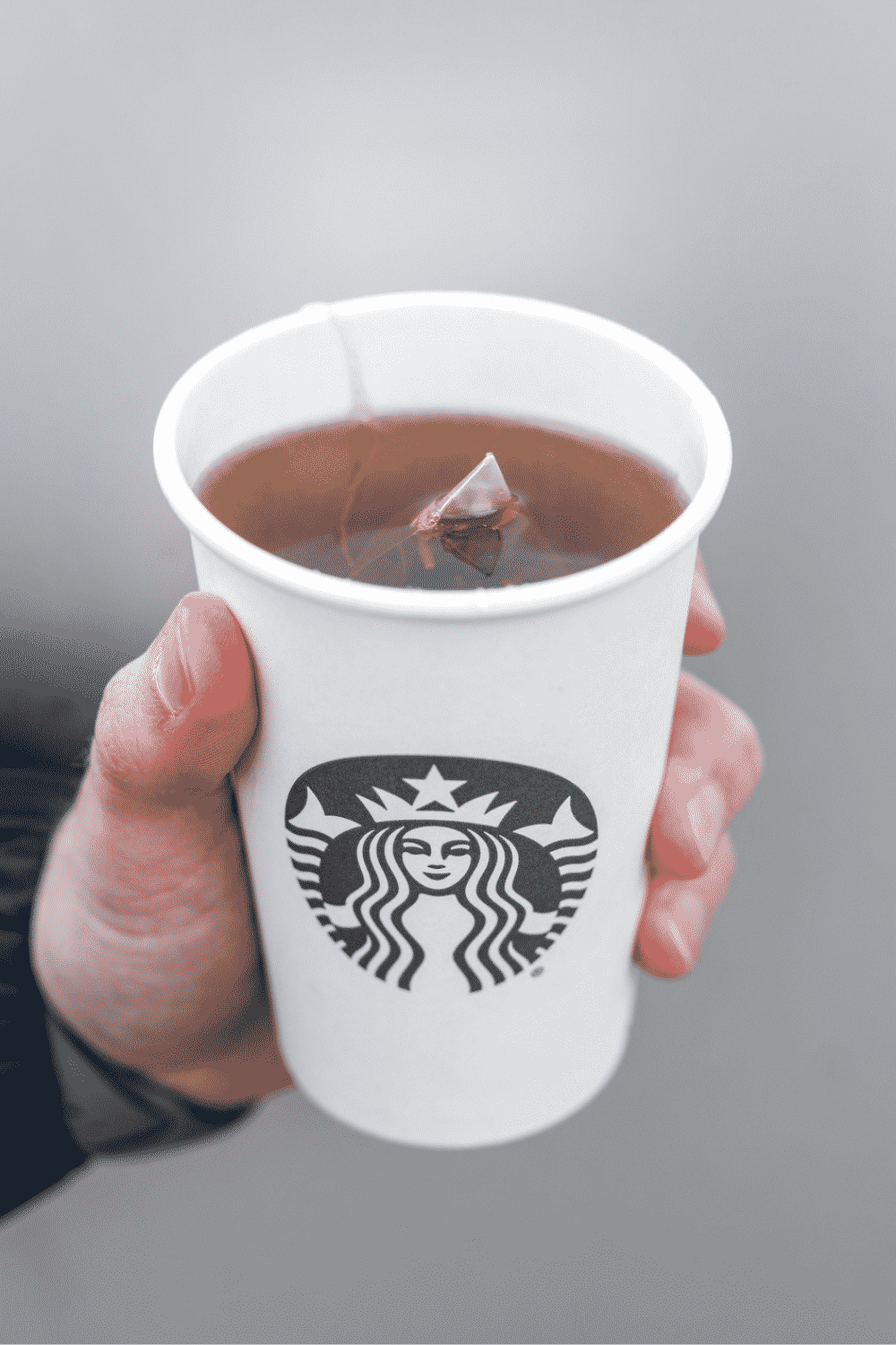 A hand holding a cup of Starbucks in Jade citrus mint tea.