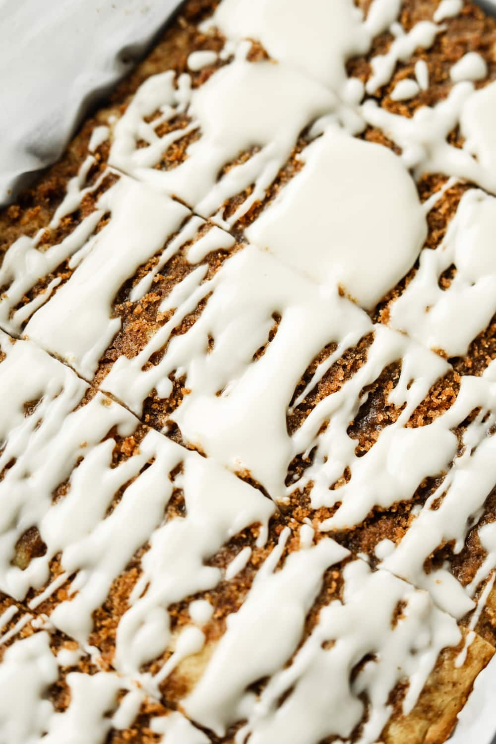 Coffee cake in a baking tray.