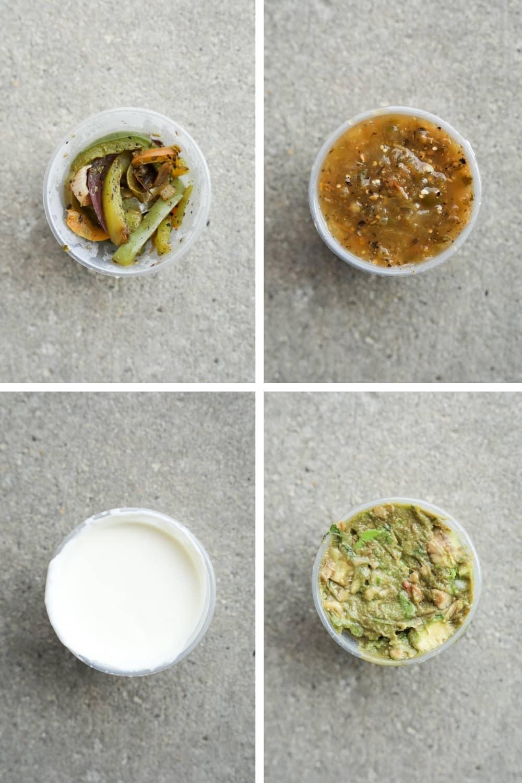 A small plastic cup of fajita veggies in the top left or the small plastic cup of salsa Verde in the top right. The bottom right is a small plastic cup of sour cream and asked that a small plastic cup of guacamole.
