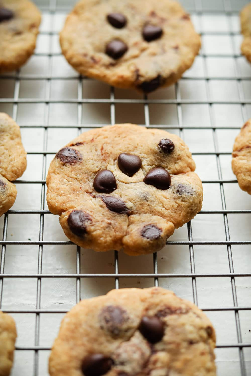 Chocolate chip cookies on a wire rack.