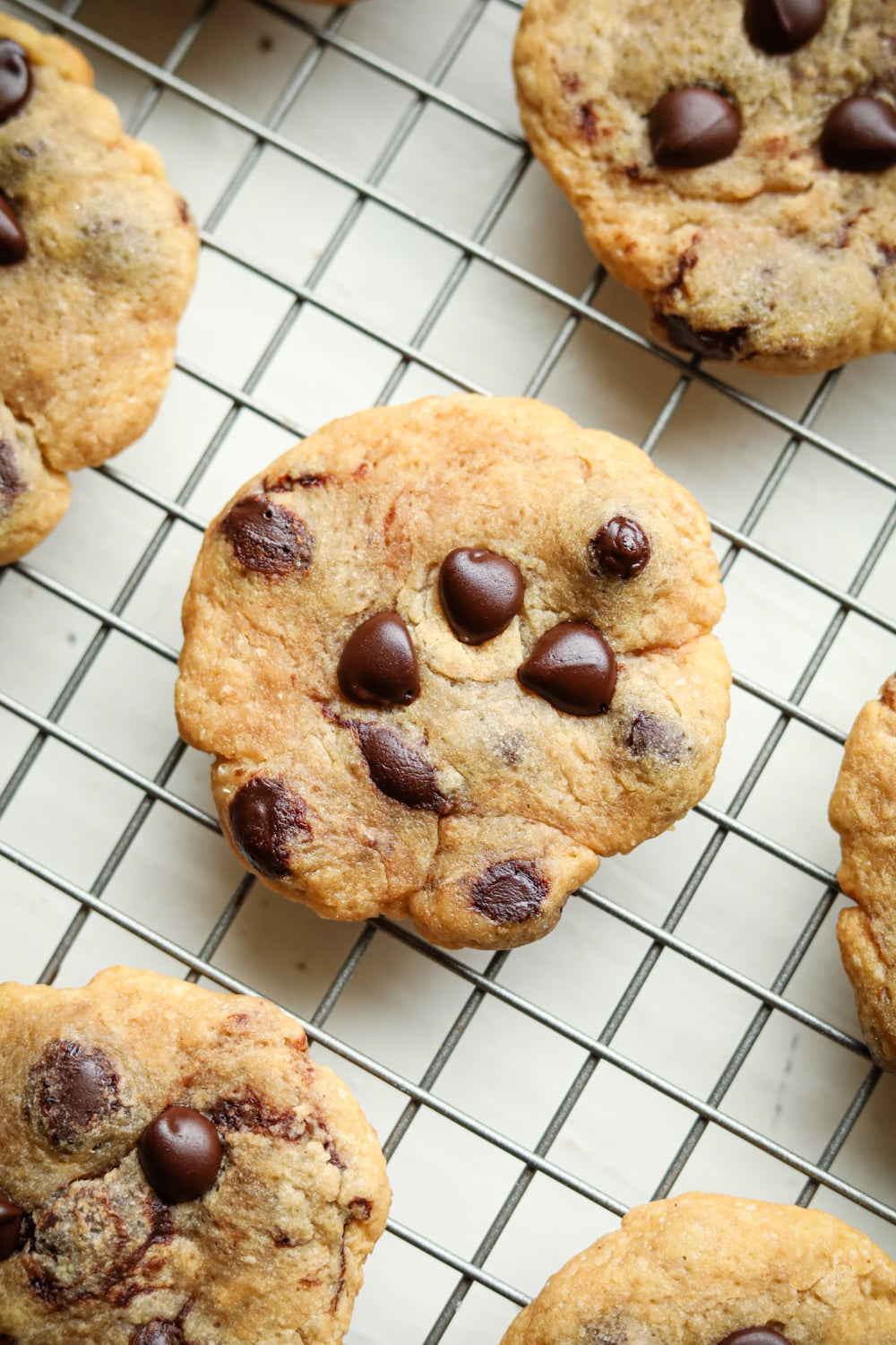 A chocolate chip cookie on a metal wire rack.