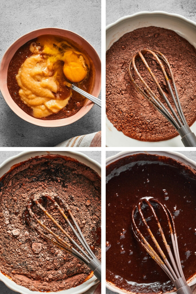 A four-way split picture: the top left picture is a small bowl with cocoa powder, applesauce, and an egg. The top right picture is a white bowl of dry ingredients for brownies. The bottom left picture is a white bowl with dry and wet ingredients for brownies. The bottom right picture is a white bowl with brownie batter.