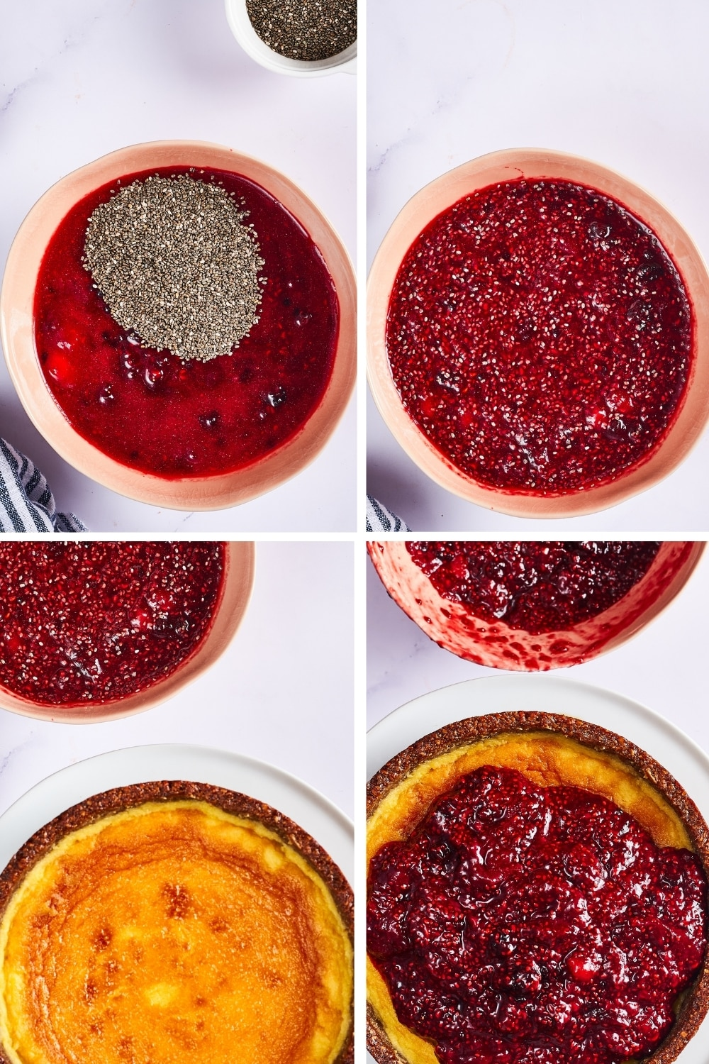 A four way split picture showing the process of making a raspberry chia cheesecake topping.
