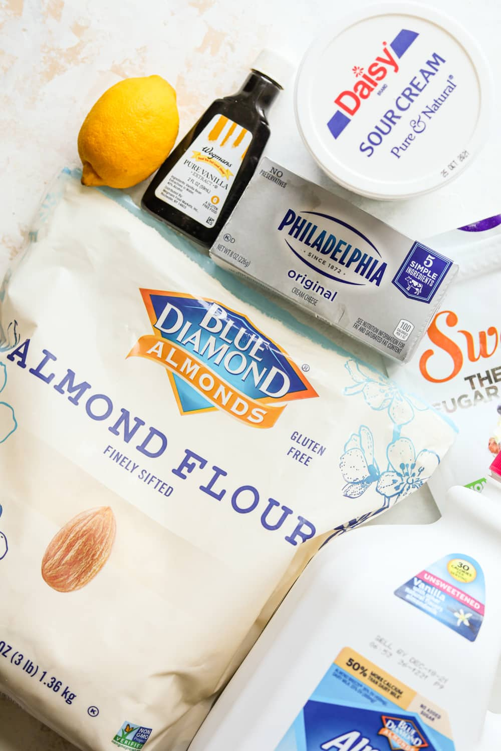 All different ingredients that are in their packaging on a white backdrop.