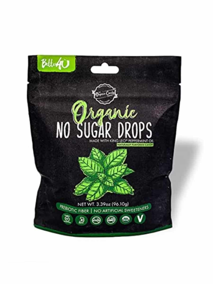 A bag of better 4 u organic no sugar peppermint drops.