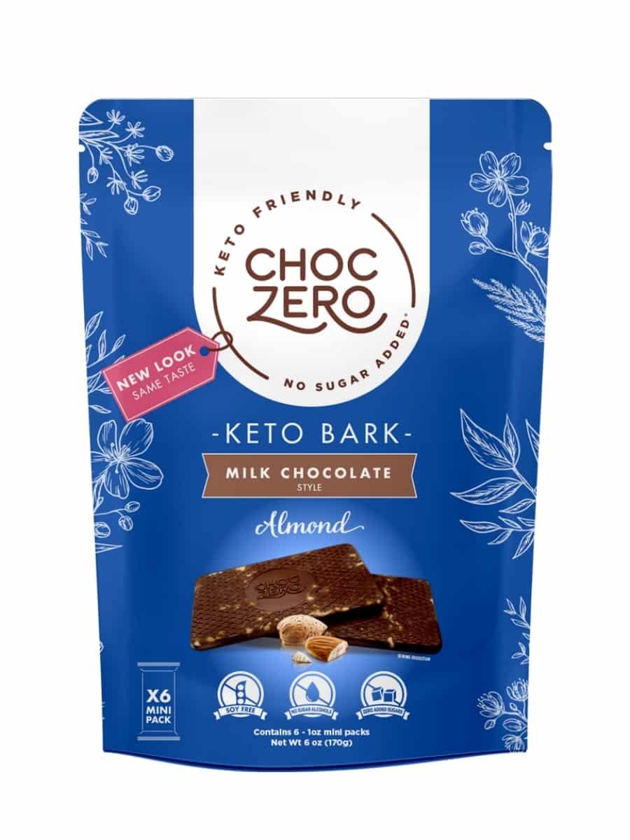A bag of choc zero keto milk chocolate bark.