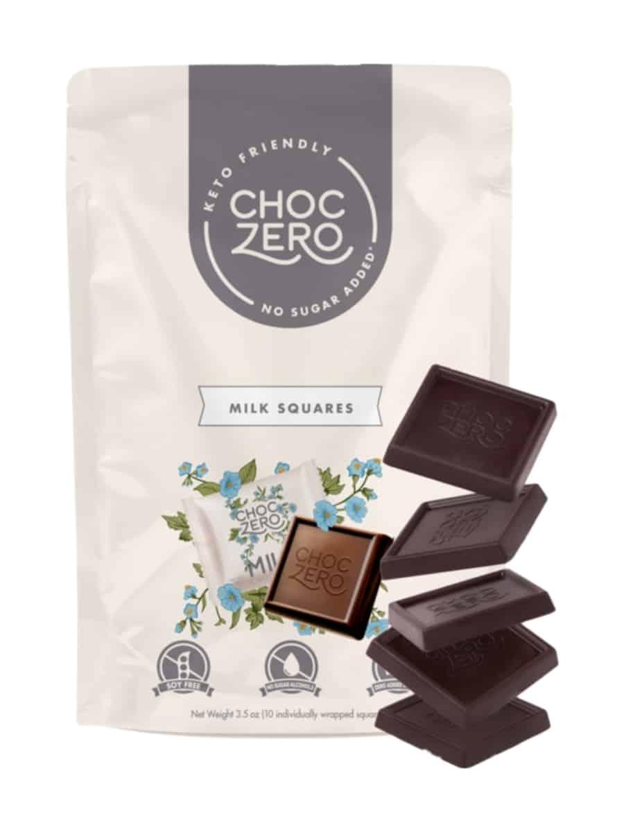 A bag of choc zero milk squares.