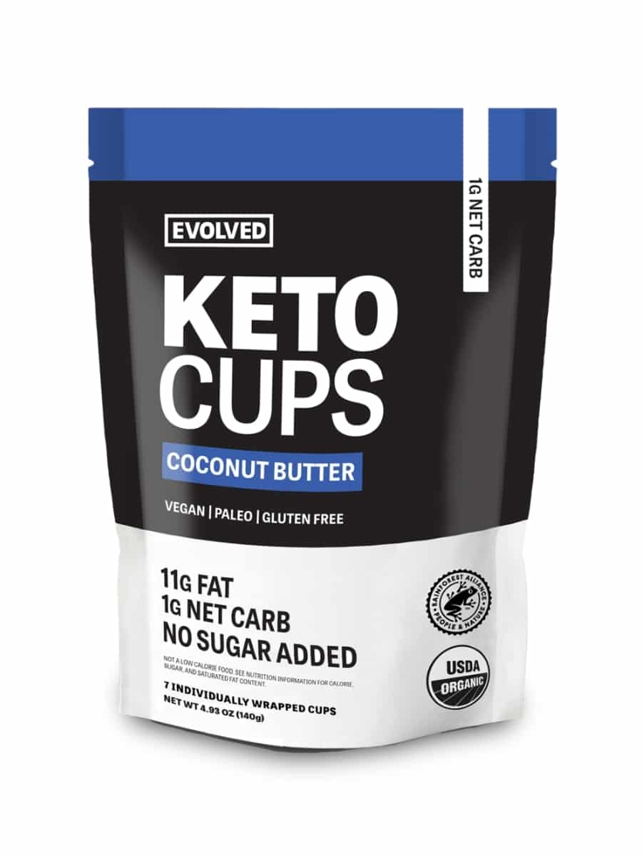 A bag of evolved coconut butter keto cups.
