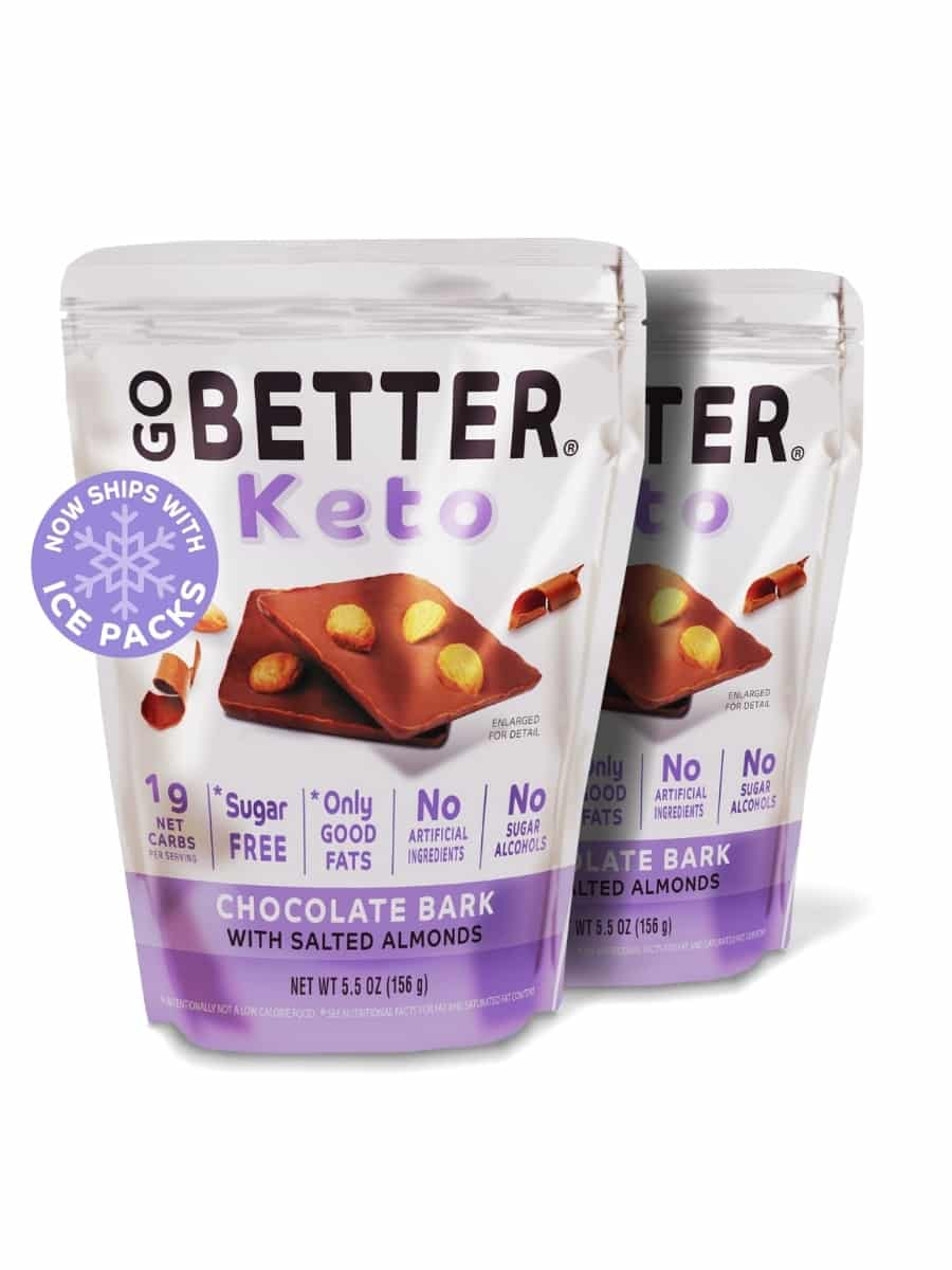 A bag of go better keto chocolate bark with salted almonds. A quarter of a bag of the same thing is behind it.