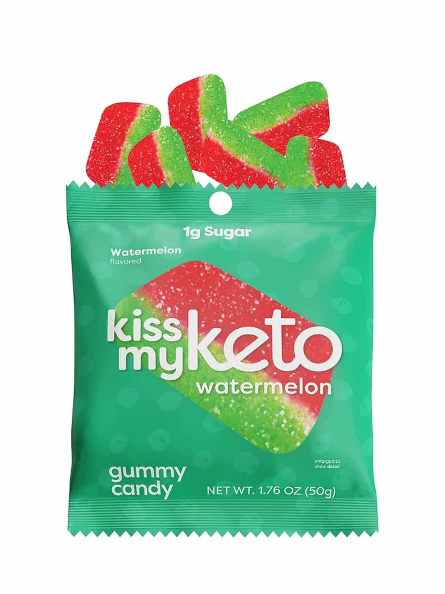 A green bag of kiss my keto watermelon gummy candy. There are six watermelon's coming out of the top of the bag.